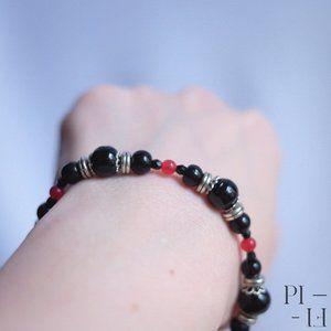 2/60$ bracelet natural obsidian jade gemstones